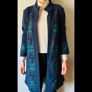 Sundance blue with embroidery long cardigan, Small